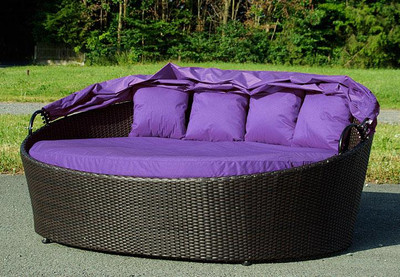 Exclusive Sonneninsel aus Polyrattan - Lounge flieder – Bild 2