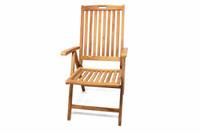DIVERO Stuhl Teak Holz Hochlehner 5-fach verstellbar klappbar massiv Gartenstuhl 001