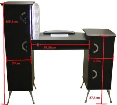 Maniküretisch m. Absaugung und LED-Rack Laminat schwarz – Bild 3