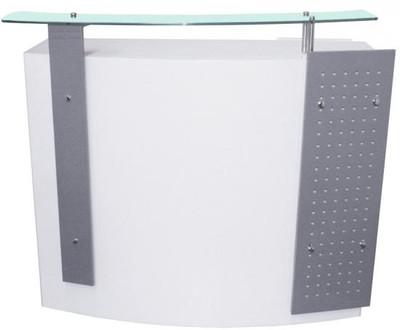 Rezeptionstresen Schleiflack weiss / Front silber – Bild 2