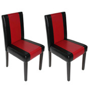 2x Esszimmerstuhl Stuhl Lehnstuhl Littau ~ Kunstleder, schwarz-rot, dunkle Beine 001