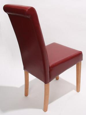 2x Esszimmerstuhl Stuhl Lehnstuhl Novara II, Leder ~ rot, helle Beine – Bild 2