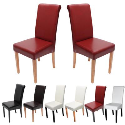 2x Esszimmerstuhl Stuhl Lehnstuhl Novara II, Leder ~ rot, helle Beine – Bild 5