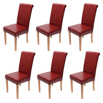 6x Esszimmerstuhl Stuhl Lehnstuhl Novara II, Leder ~ rot, helle Beine
