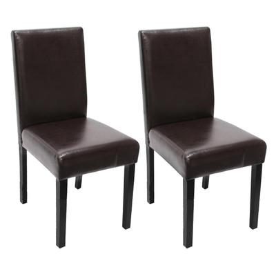 2x Esszimmerstuhl Stuhl Lehnstuhl Littau ~ Leder, braun, dunkle Beine – Bild 1
