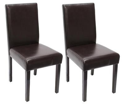 2x Esszimmerstuhl Stuhl Lehnstuhl Littau ~ Leder, braun, dunkle Beine – Bild 2