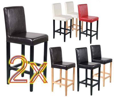 2x Barhocker Vicenza, Holz+LEDER ~ creme, helle Beine – Bild 2