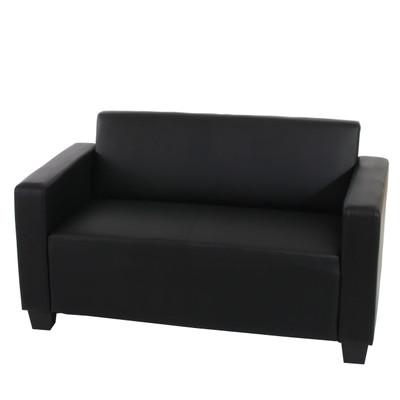 2er Sofa Couch Lyon Loungesofa Kunstleder ~ schwarz – Bild 1