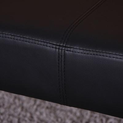 Sitzbank Polsterbank Bank M37 Kunstleder ~ 120x43x49 cm schwarz, dunkle Beine – Bild 6