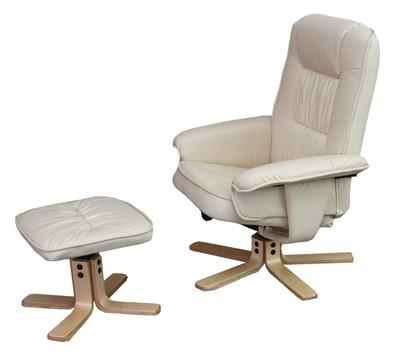 Relaxsessel Fernsehsessel Sessel mit Hocker M56 Kunstleder ~ creme – Bild 2
