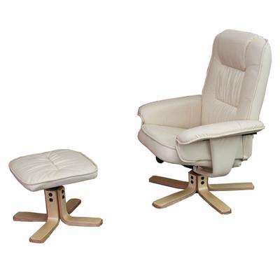Relaxsessel Fernsehsessel Sessel mit Hocker M56 Kunstleder ~ creme