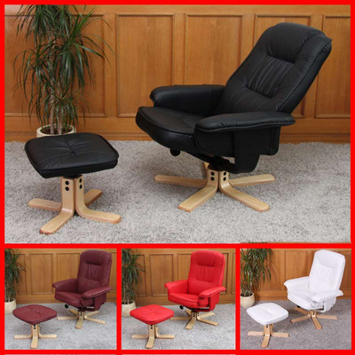 Relaxsessel Fernsehsessel Sessel mit Hocker M56 Kunstleder ~ schwarz – Bild 5