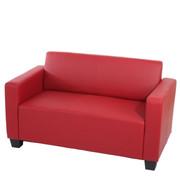 2er Sofa Couch Lyon Loungesofa Kunstleder ~ rot 001