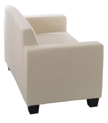 Sofa-Garnitur Couch-Garnitur 2x 2er Sofa Lyon Kunstleder ~ creme – Bild 4
