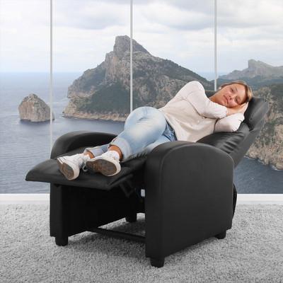 Fernsehsessel Relaxsessel Liege Sessel Denver, Kunstleder ~ schwarz – Bild 8