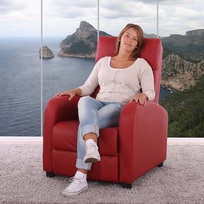 Fernsehsessel Relaxsessel Liege Sessel Denver, Kunstleder ~ rot – Bild 8