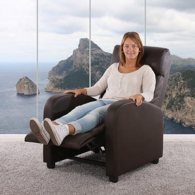 Fernsehsessel Relaxsessel Liege Sessel Denver, Kunstleder ~ braun – Bild 7