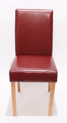 4x Esszimmerstuhl Stuhl Lehnstuhl Littau ~ Kunstleder, rot helle Beine – Bild 2
