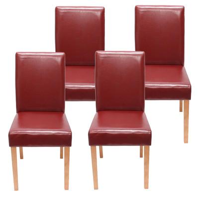 4x Esszimmerstuhl Stuhl Lehnstuhl Littau ~ Kunstleder, rot helle Beine