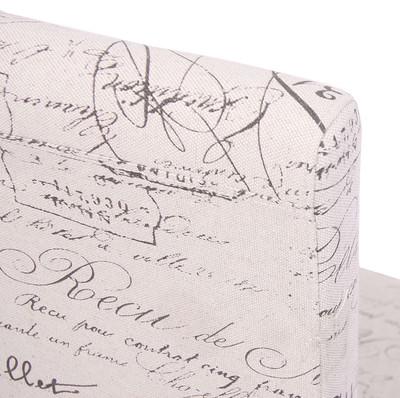 4x Esszimmerstuhl Stuhl Lehnstuhl Littau ~ Textil mit Schriftzug, creme, dunkle Beine – Bild 6