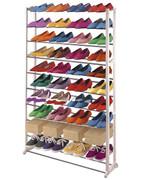 Schuhregal Schuhablage, Kunststoff, Metall Querstreben, weiss ~ für 40 Paar Schuhe 001