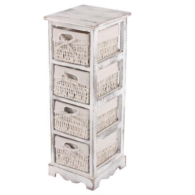 Regal Kommode mit 4 Korbschubladen 74x25x28cm, Shabby-Look, Vintage ~ weiss – Bild 4