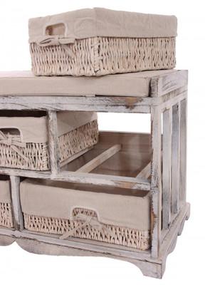 Kommode und Sitzbank mit 5 Schubladen, 77x45x36cm, Shabby-Look, Vintage ~ weiß – Bild 5