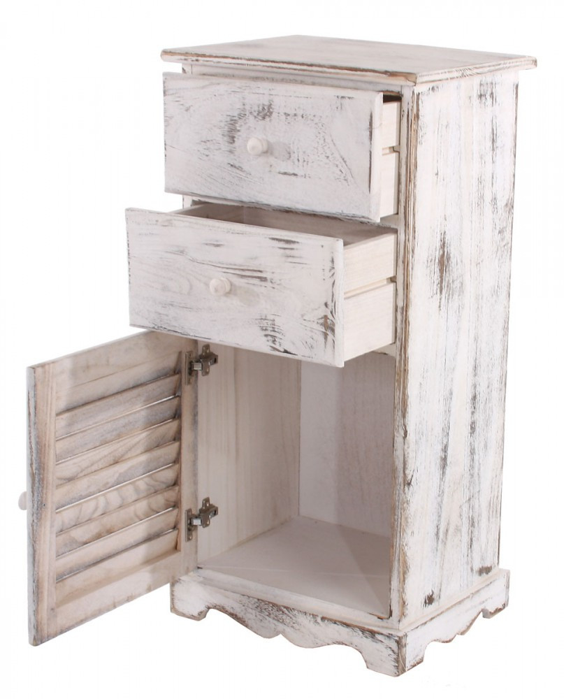 kommode schrank 81x40x32cm shabby look vintage weiss bei arizondo kaufen. Black Bedroom Furniture Sets. Home Design Ideas