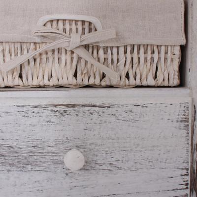 Garderobe mit Sitzbank Kommode mit 2 Körben 42x62x33cm, Shabby-Look, Vintage ~ weiss – Bild 5