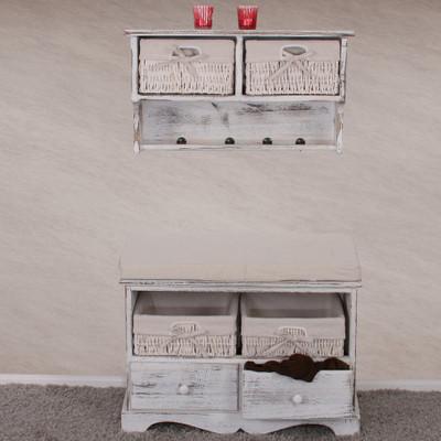 Sitzbank Kommode mit 2 Körben 42x62x33cm, Shabby-Look, Vintage ~ weiß – Bild 8