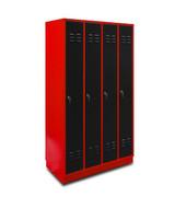 Spindschrank 4-türig rot/anthrazit 001