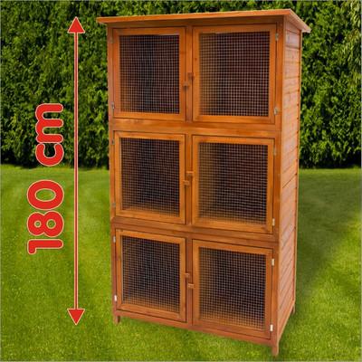 Hasenstall XL6 aus Holz | 6 Boxen – Bild 1