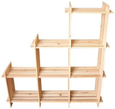Holzregal mit 6 Fächer auch für Schräge geeignet