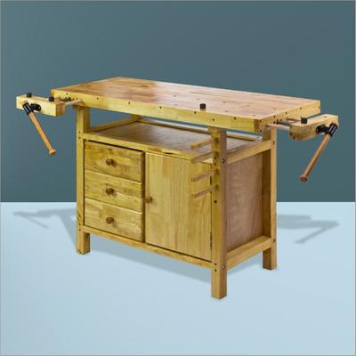 Hobelbank Werkbank Holz Narvik 125x50x85 cm  – Bild 4