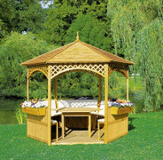 """Set Pavillon """"Palma"""" mit Holzdach 001"""