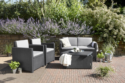 Allibert Monaco Lounge Set mit Kissenbox graphite/cool grey