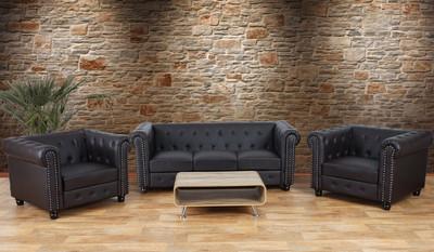 Luxus 3-1-1 Sofagarnitur Couchgarnitur Loungesofa Chesterfield Kunstleder  runde Füsse, braun – Bild 2