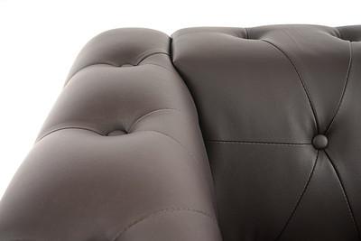 Luxus 3-1-1 Sofagarnitur Couchgarnitur Loungesofa Chesterfield Kunstleder  runde Füsse, braun – Bild 3