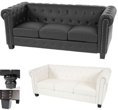 Luxus 3er Sofa Loungesofa Couch Chesterfield Kunstleder ~ runde Füsse, schwarz – Bild 5