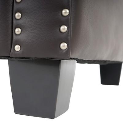 Luxus Sessel Loungesessel Relaxsessel Chesterfield Kunstleder ~ eckige Füsse, braun mit Ottomane – Bild 2