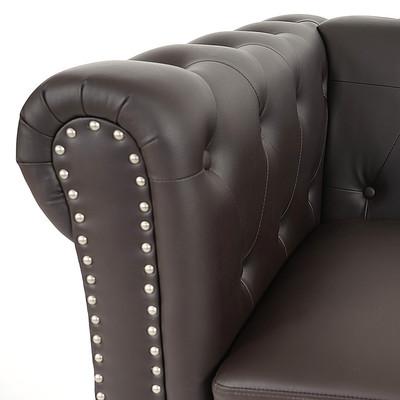 Luxus Sessel Loungesessel Relaxsessel Chesterfield Kunstleder ~ eckige Füsse, braun mit Ottomane – Bild 6
