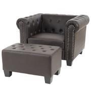 Luxus Sessel Loungesessel Relaxsessel Chesterfield Kunstleder ~ eckige Füsse, braun mit Ottomane 001