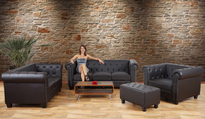 Luxus 2er Sofa Loungesofa Couch Chesterfield Kunstleder ~ runde Füsse, braun – Bild 4