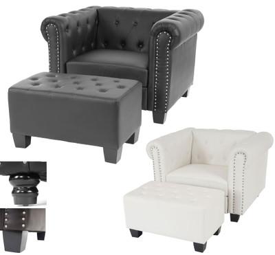 Luxus Sessel Loungesessel Relaxsessel Chesterfield Kunstleder ~ runde Füsse, braun – Bild 5