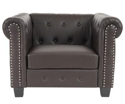 Luxus Sessel Loungesessel Relaxsessel Chesterfield Kunstleder ~ eckige Füsse, braun – Bild 2