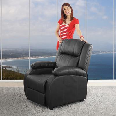 Fernsehsessel Relaxsessel Liege Sessel Lincoln, Kunstleder ~ schwarz – Bild 7