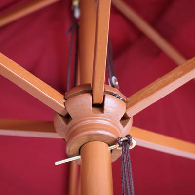 Holz-Sonnenschirm Gartenschirm Marktschirm Florida, rechteckig 2x3m ~ bordeaux – Bild 3