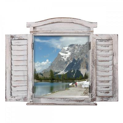 Wandspiegel Spiegelfenster mit Fensterläden 53x42x5cm ~ weiss shabby – Bild 7