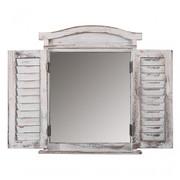 Wandspiegel Spiegelfenster mit Fensterläden 53x42x5cm ~ weiss shabby 001