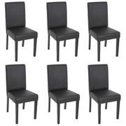 6x Esszimmerstuhl Stuhl Lehnstuhl Littau ~ Kunstleder, schwarz matt, dunkle Beine 001